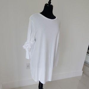 Topshop white t shirt dress 12 woman bow sleeve